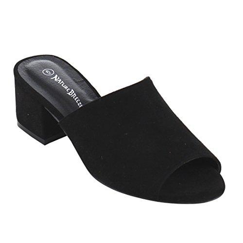 Nature Breeze FG73 Women's Slip On Chunky Block Heel Mule Sandals, Color:BLACK, Size:7 (Mules Black Sandals)