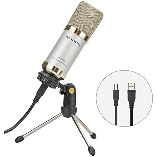 USB Microphone, Unidirectional Condenser Mic for Computer (Mac/Windows), well suited for home studio recordings, Skype, Stream, Voice over, vocal, dictation, podcasting with desk tripod stand