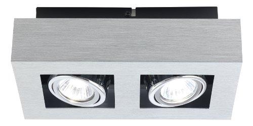 Eglo 89076A 2x35W Ceiling Track Light with Brushed Aluminum, Black & Chrome Finish (Black 2 Chrome Light)