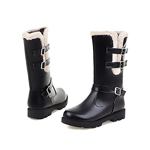 VogueZone009 Damen Rein Blend-Materialien Niedriger Absatz Ziehen auf Rund Zehe Stiefel, Schwarz, 39