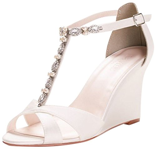 David's Bridal Pearl and Crystal T-Strap Wedges Style Veni, Ivory, 6 - Ivory T-strap Sandal