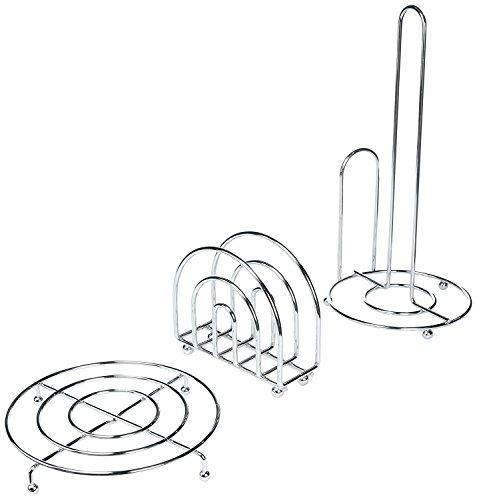 Home Basics 3 Piece Chrome Pantryware Set - Paper Towel Holder, Napkin Holder, Trivet