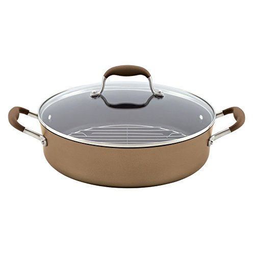Anolon Advanced Bronze Hard Anodized Nonstick 5.5-Quart Covered Braiser with Rack