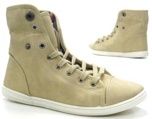 Schuh-City Damen Schuhe High Top Sneaker sportliche Stiefeletten camel 37