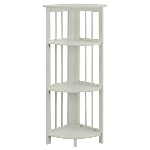 Casual Home 315-11 4-Shelf Corner Folding Bookcase, White
