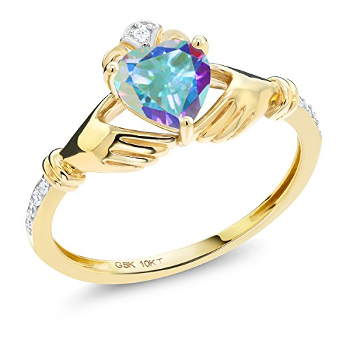 (Gem Stone King 1.01Ct Irish Celtic Claddagh Mercury Mist Mystic Topaz Diamond Accent 10K Yellow Gold Ring (Size 7))