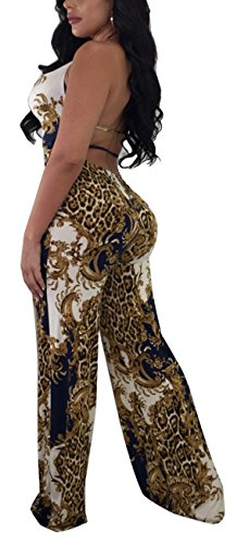 Multi Bright Turtleneck - Women Sexy Leopard Jumpsuits Elegant Scoop Neck Sleeveless Halter Strape Backless Wide Leg Long Pants Rompers Party Club