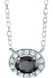 Avon Sterling Silver Onyx Oval Pendant