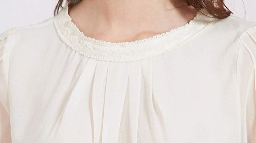 E-girl E6390 Camicia da donna, 100% seta, girocollo, a maniche lunghe, Slim Top, in seta Beige.