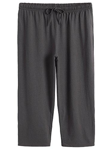 Latuza Women's Cotton Capri Pants Sleep Capris S Gray (Drawstring Capri Shorts)