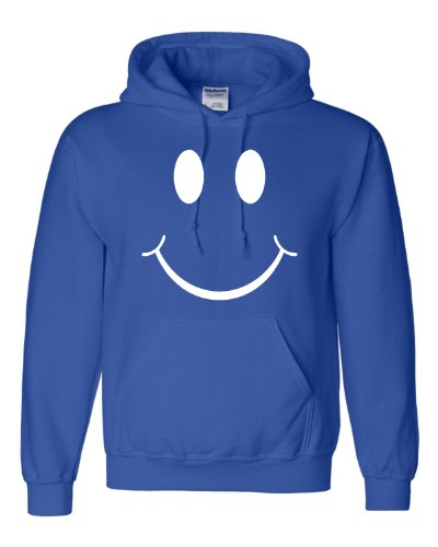 Cap Happy Face (X-Large Royal Blue Adult Big Smiley Face Don''t Worry Be Happy Sweatshirt Hoodie)