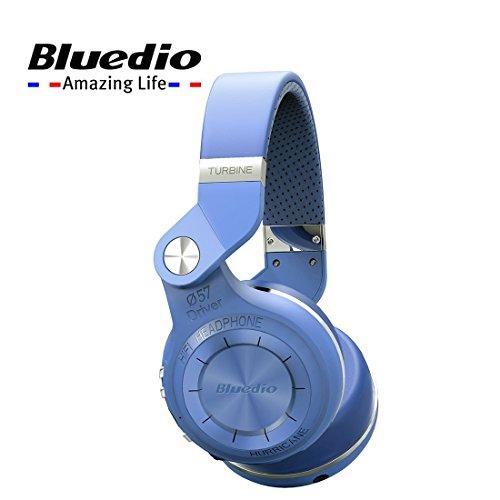Bluedio T2+, T2 Plus Turbine Wireless Bluetooth Headphones with Mic/Micro SD Card Slot/FM Radio (Blue)