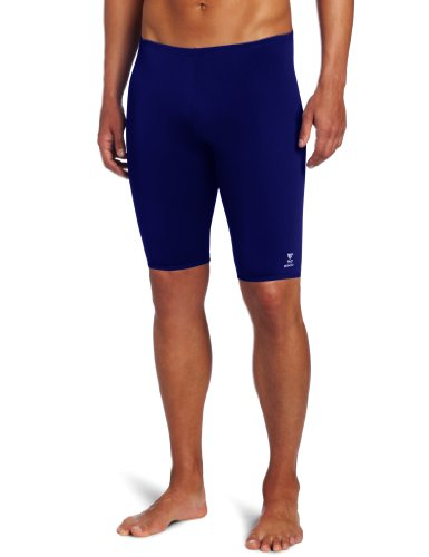 TYR Men's Solid Durafast Jammer Swim Suit (Navy, - Chlorine Swimwear Proof