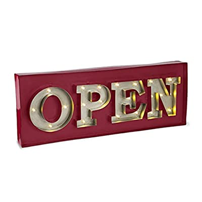"20"" x 7.5"" - Silver & Red - Metal - Battery Operated - LED - Lighted ""Open"" Shadow Box - Sign 