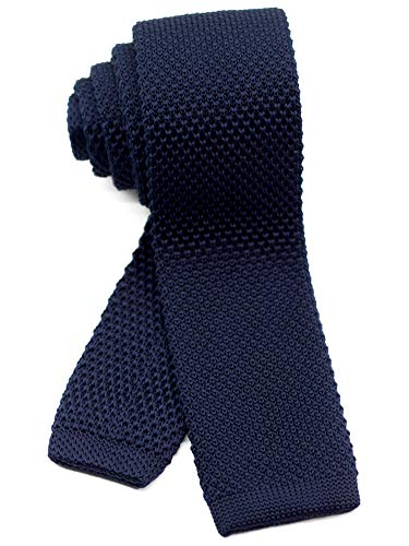 WANDM Men's Knit Tie Slim Skinny Square Necktie Width 2.2 inches Washable Solid Color Navy Dark Blue