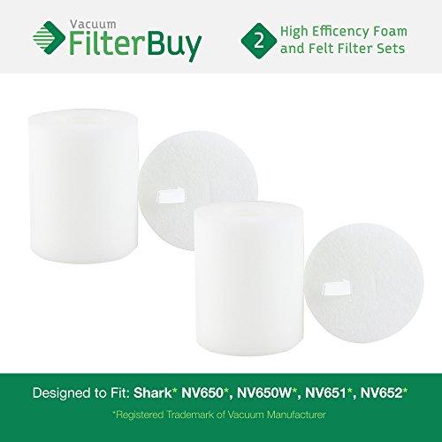 2 - Shark NV650 Replacement Foam & Felt Filter Kits, Part #
