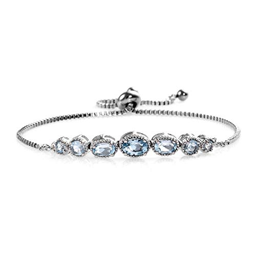 Shop LC Delivering Joy Oval Sky Blue Topaz Adjustable Sliding Bolo Tennis Bracelet Jewelry for Women Classic Jewelry Ct 2.4