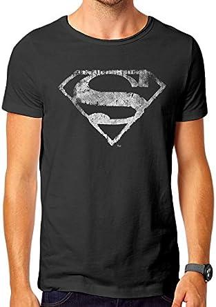 Superman Logo Mono Distressed Camiseta para Hombre: Amazon.es: Ropa y accesorios