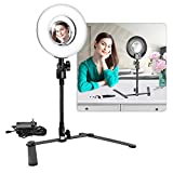 LimoStudio Dimmable 25W Mini LED Ring Light 2500LM with Table top Flexible Gooseneck Stand & 3.5-inch Mirror for Portrait Beauty Make up Shots, Studio Video Photography, PROMOAGG2817