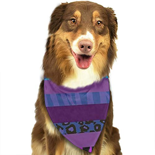 TLDRZD Cheetah Purple Stripe Leopard Dog Bandanas - Washable and Reversible Triangle Cotton Dog Bibs Scarf Assortment Suitable for Puppy Small and Medium Pet