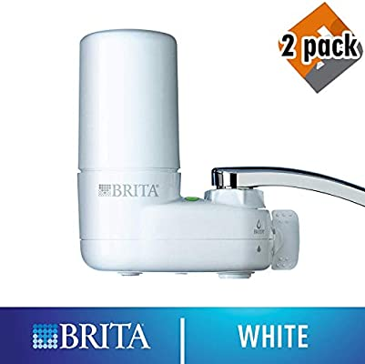 White Basic 3-Pack Reduces Lead BPA Free Fits Standard Faucets Only Water Faucet Filtration System with Filter Change Reminder Brita Tap Water Filter System