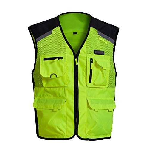 TZTZD Professional Safety Motorcycle Vest High Visibility Jacket Fluorescent Crease Resistant Reflective Strips Zip with Large Pockets,XXL(70~80KG) by TZTZD (Image #1)