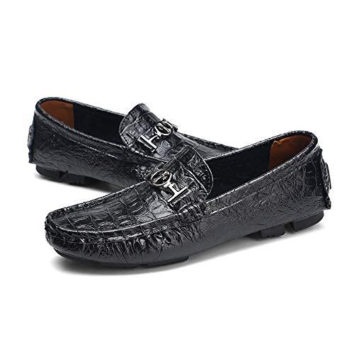 de auténtica cm diseño 40 Color 24 EU Hombre Mocasin de Negro Mocasin tamaño Azul Negro para Piel Corte bajo Gommino Piel cm 30 Azul Zapatos 5 Zgsjbmh marrón único Gommino wS8aXX