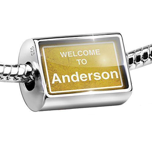Anderson Sterling Silver Charm - NEONBLOND Sterling Silver Bead Yellow Road Sign Welcome to Anderson Charm Fits All European Bracelets