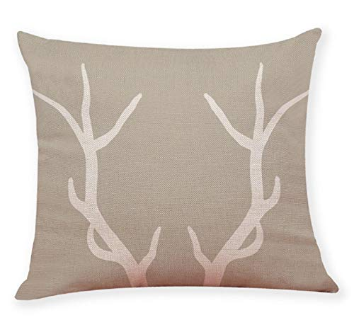 (Pausseo Christmas Reindeer Antlers Pillow Cases, Xmas Printng Linen Square Pillow Cover Cushion Sofa Waist Throw Pillowcase Home Decoration Office Car Bed Decor Wrinkle Resistant)