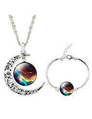 Jiayiqi Mystical Galaxy Universe Time Gem Bracelet New Moon Necklace for Women Jewelry Set