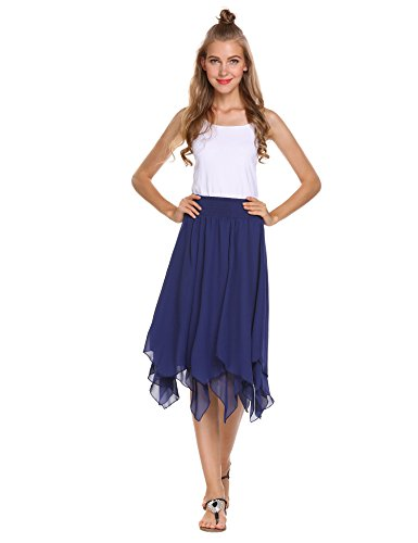 Zeagoo Women's Cotton Long Skirt Elastic-Waist Pleated Skirt