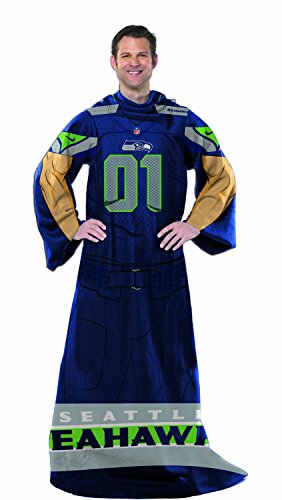 NFL 024 Seahawks Uniform Comfy Throw Blanket with Sleeves