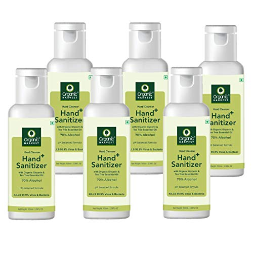 Organic Harvest Instant Gel Based Hand Sanitizer & Hand Cleanser with Organic Glycerin & Tea Tree Essential Oil, 70…