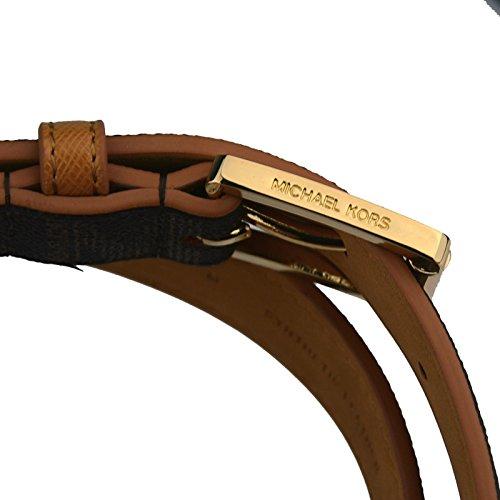 Michael Kors Mk Signature Monogram Logo Gold Buckle Brown Belt Medium