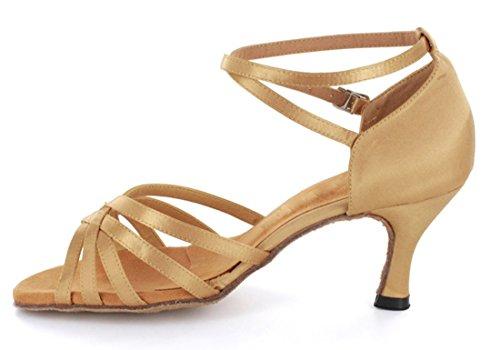 Wedding Classic Sexy Shoes Tango Modern Heel Ballroom Women's Latin Dance Salsa Flared TDA Beige wxTPIFt