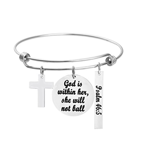- Girls Bangle Christian Bracelet Stainless Steel Minimalist Simple Charm Jewelry God is Within Her She Will Not Fail