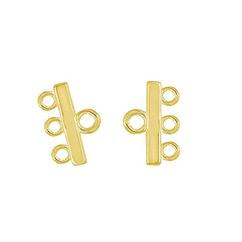 egemmall 2PC Gold Plated Sterling Silver 3-strand Necklace Bracelet Reducer Connector, 18kt Gold Plated