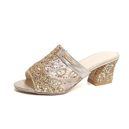 Toe On Slip Slipper Design BY0NE Gold Slide Crude Shoes Open Summer Sandal Heeled for Dress Casual Women Wq8A4v