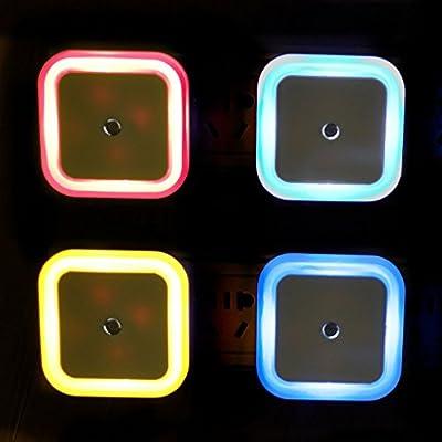 Goldenwide® Smart Control Sensor LED Night Light for Kid's Baby Room, Bedside,corridor,indoor, and Christmas, Festivals (Set of 4 : Blue Orange Pink White)