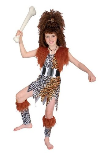 Cavegirl 5pc Childs Fancy Dress Costume & Wig S (Cavegirl Wig)