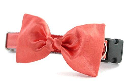 salmon satin dog bow tie formal dog bow tie Wedding Attire for Dogs dog wedding Coral Bow Tie Dog Collar Dog Bow Tie Collar