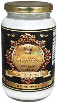 32-oz glass - Gold Label Organic Virgin Coconut Oil - 1 quart