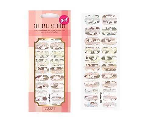 Nail Polish Strips Gel Stickers 22 Strips Count Holographic Full Wraps Glossy Manicure Made in Korea (#2 Twin - Stars Rhinestones Twin