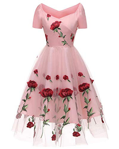 (Aofur Women's Vintage Style Rose Embroidered 1950s Rockabilly Evening Party Lace Swing Tea Dress A Line Dresses (X-Large, Pink_Short Sleeve))