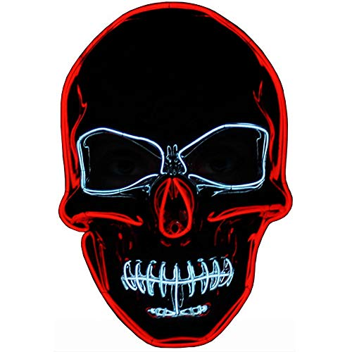 Crazy Halloween Masks (Autbye Halloween Mask Scary Skull Mask LED Light Up 4 Modes Lighting Skeleton Masquerade Mask for Cosplay Festival Party)