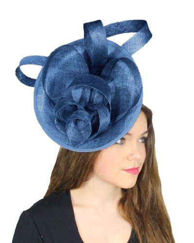 Hats By Cressida Zombie Sinamay Ascot Fascinator Hat Women's With Headband - Royal Blue by Hats By Cressida