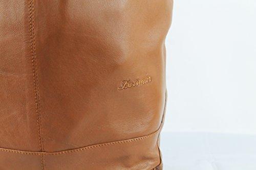 Zerimar Bolso Reversible de Piel para Mujer Bolso de Hombro con gran capacidad 40x20x25 cm negro-cuero