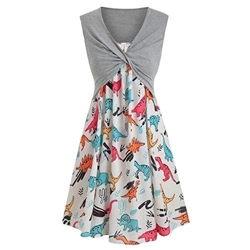 Lemoning , Women's Dinosaur Print Dress Fashion Sleeveless