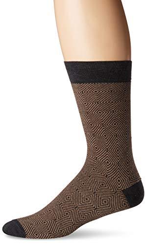 Herringbone Stripe Socks - Zanella Socks Men's Z9032, Beige, 10-13