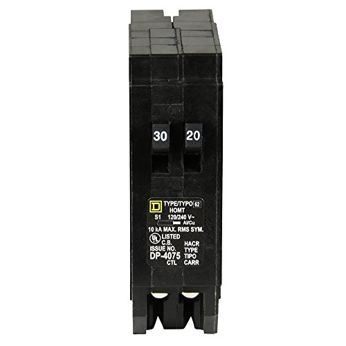- Square D by Schneider Electric HOMT3020CP Homeline 1-30-Amp 1-20-Amp Single-Pole Tandem Circuit Breaker
